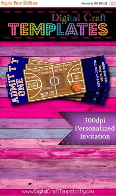 "ON SALE Personalized Printable Invitations | Sports Party | Basketball | 2""x6"" Ticket Invitation 