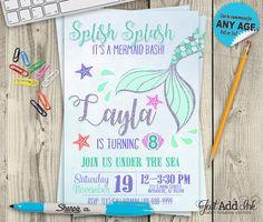 Mermaid Birthday Theme Invitation - DIY Printable Mermaid Party Birthday Invite - Under The Sea Invite by justaddinkcreatives. Explore more products on http://justaddinkcreatives.etsy.com