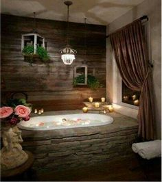 Stone Bathroom - Romantic Soaking tub