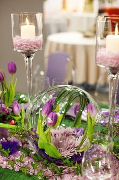 A fishbowl turned on it's side to make a striking centerpiece!