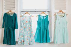 mismatched teal & aqua bridesmaid dresses
