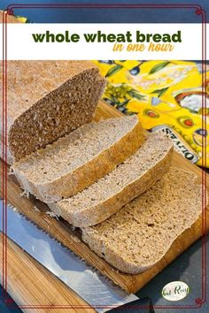 Hearty homemade whole wheat bread in one hour! Amazing but true, this whole wheat bread uses extra yeast for a quick rise and takes about 1 hour from start to finish.
