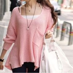 $15.58 Casual Pink Batwing and Round Collar Loose-Fitting Sweater For Women