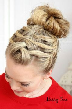 This is a picture of a braid that is pulled back into a bun.