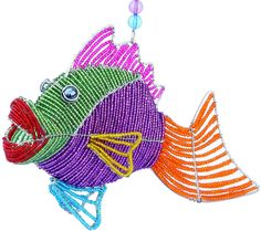 "Amazon.com: Custom & Unique {13 x 9"" Inch} 1 Single, Large Home & Garden ""Standing"" Figurine Decoration Made of Grade A Glass & Galvanized Wire w/ Tropical Ocean Kissy Fish Style {Purple, Green, & Orange}: Home & Kitchen"