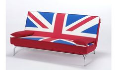 Sofá cama pop art en tela con la bandera británica