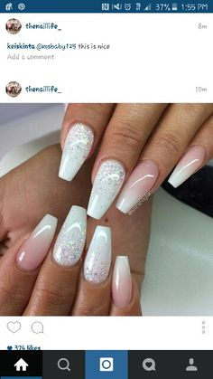 """50 Best Ombre Nail Designs for 2019 - Ombre Nail Art Ideas , Update: The ombre nail art designs look very glamorous for women. They seem very complicated but actually are very easy to make., Wonderful Ombre Nail Designs for, """" , """" Gorgeous Nails, Love Nails, Pink Nails, Pretty Nails, My Nails, Hair And Nails, Gradient Nails, Pink White Nails, White Sparkle Nails"""