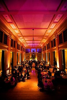 this combo of orange and magenta uplighting creates the feel of a deep, rich sunset. Uplighting Wedding, Wedding Reception Lighting, Event Lighting, Sunset Wedding, Our Wedding, Orange Party, Cocktail, Event Planning, Wedding Colors