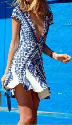 Deep V Neck A-line Mini Short Sleeve Dress