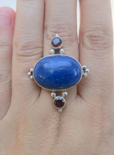 Statement sterling silver ring with oval lapis lazuli and garnets- size 7.5 by Framarines on Etsy