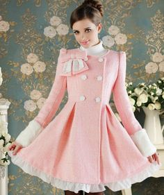 Cheap coat patch, Buy Quality coat hood directly from China coat cardigan Suppliers: 2013 Pink Doll Bow Elegant Lace Cute Exclusive Pleated Winter Women's Long Dress Ladies Woolen Blend Coat Mode Rose, Big Skirts, Coats For Women, Clothes For Women, Cheap Clothes, Vintage Coat, Coat Dress, Pink Fashion, Cheap Fashion