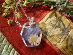 Colar em COBRE e RESINA Metal & Plant Flowers by AlecrimDesign