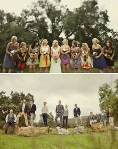 Mismatch bridesmaids and grooms men-love the idea everyone can feel comfortable and go with the wedding