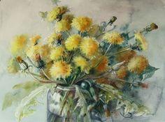 Dried Flowers, White Flowers, Beautiful Paintings Of Flowers, Painting Lessons, Watercolor Flowers, Art Inspo, Flower Art, Photo Art, Dandelion