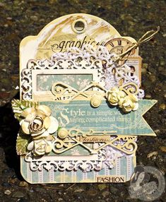 This beautiful A Ladies' Diary tag is by @Tara Harmon Harmon Harmon Harmon Orr. Her layering and inking is fabulous! #graphic45 #tags