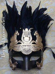 New Gold Black Hercules Venetian Masquerade Ball Mardi Gras Prom Mask w Feathers   eBay