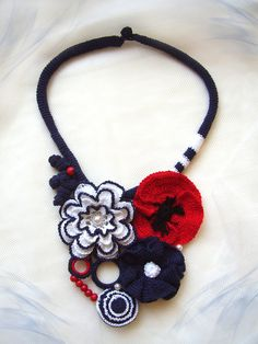 Hey, I found this really awesome Etsy listing at https://www.etsy.com/listing/233514656/summer-crochet-necklace-in-blue-red-and
