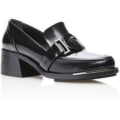Versace Polished Calf Leather Loafer (1,865 CAD) ❤ liked on Polyvore featuring shoes, loafers, versace, block heel shoes, loafers & moccasins, shiny black shoes and round toe shoes