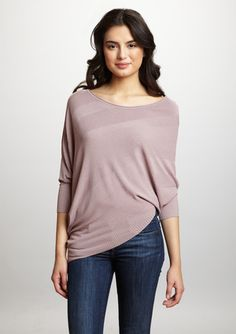 LOVESTITCH Dolman Sleeve Asymmetrical Sweater