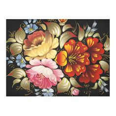 Beautiful Vintage Folk Art Floral On Black Cotton Linen Tablecloth 52