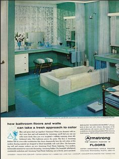 """""""Spa-like"""" retro blue and green bathroom from Armstrong Flooring's retro ad files. Vintage Bathrooms, Modern Bathroom Decor, Bathroom Ideas, Retro Ads, Vintage Ads, Vintage Houses, Vintage Green, Armstrong Flooring, Modern Flooring"""
