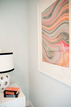 Framed, a single sheet of marbled paper makes a pretty statement. From danielle oakey interiors.