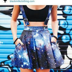 Find images and videos about outfit, skirt and galaxy on We Heart It - the app to get lost in what you love. Cute Fashion, Teen Fashion, Fashion Outfits, Cute Casual Outfits, Outfits For Teens, Galaxy Skirt, Galaxy Outfit, Galaxy Fashion, Black Milk Clothing