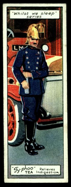 "https://flic.kr/p/aQGjVv | British Trade Card - The Fireman | Typhoo Tea  ""Whilst We Sleep"" (series of 25 issued in 1928) #7 The Fireman"
