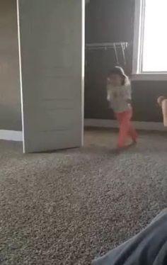 Dog tries to imitate little girls cartwheel