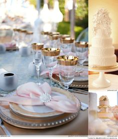 elegant pale pink and gold wedding decor Bronze Wedding, Pink And Gold Wedding, Party Decoration, Wedding Decorations, Table Decorations, Wedding Centerpieces, Beautiful Table Settings, Touch Of Gold, Elegant Table