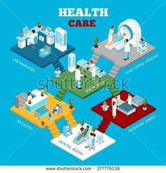 Hospital healthcare departments laboratory tests unit and reception colorful isometric composition poster abstract vector illustration
