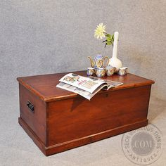 Large Solid Wood Storage Box Trunk Chest Coffee Table w Wrought