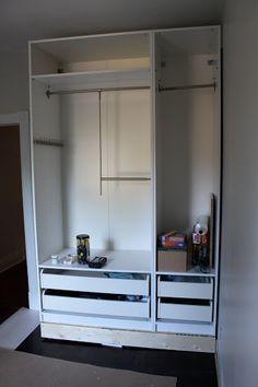 DIY closet using an Ikea piece of furniture. Wardrobe Dresser, Ikea Wardrobe, Wardrobe Ideas, Bedroom Built Ins, Closet Bedroom, Master Closet, Pantry Inspiration, Bedroom Inspiration, Living Room Decor
