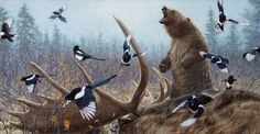 """Grizzly Encounter II - John Banovich, Limited Edition Giclée Canvas  Gallery Edition: • 50 s/n plus 5 Artist Proofs • Canvas: 21"""" x 40"""" - $1,200 • Artist Proof: 21"""" x 40"""" - $1,440"""