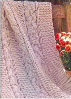 This is PDF knitting pattern for a cable blanket Finished size is 52 For this blanket you will need: Brown Sheep Prairie Silks, wool, mohair, silk, worsted yarn per skeins buck 450 Size 13 mm) circular needle or size needed to obtain gauge Cable Knitting Patterns Free, Knit Patterns, Hand Knitting, Cable Knit Blankets, Knitted Baby Blankets, Yarn Projects, Knitting Projects, Yarn Crafts, Sewing Crafts