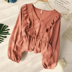 Long Sleeve Peplum Top Women's Blouse With Ruffles #blouseswithruffles #longsleevetops Blouse Vintage, Vintage Tops, Vintage Ladies, Ruffle Fabric, Ruffle Blouse, Ruffles, Bow Blouse, Long Sleeve Peplum Top, Long Sleeve Shirts
