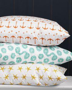 Garnet Hill Mini Print Percale Bedding #nautical