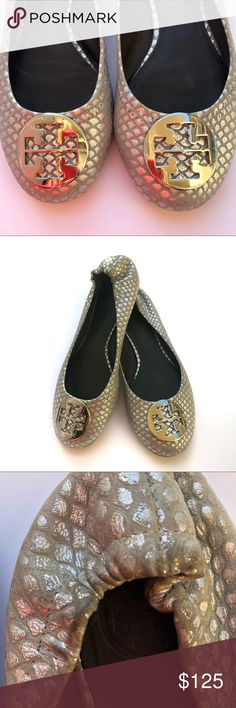 d4264376e Tory Burch Silver Snakeskin Flats SZ 8 Good condition but some signs of  wear. Some
