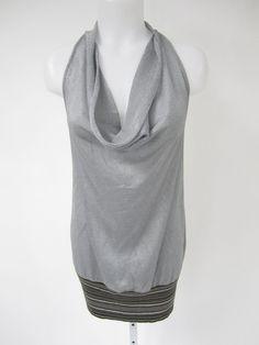 M MISSONI Silver Metallic Sleeveless Striped Tunic Mini Dress Sz 6 at www.ShopLindasStuff.com