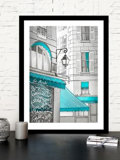 Paris, cafe Paris, illustration, home decor Printing from an original made in ink and digitally colored. Very Limited edition Fine Art Print Size: w * h inches x inches Printed on highest grade textured 280 gsm stock, using premium quality Paris Illustration, Paris Cafe, French Decor, Artwork, Fine Art Prints, Ink, Texture, The Originals, Decoration