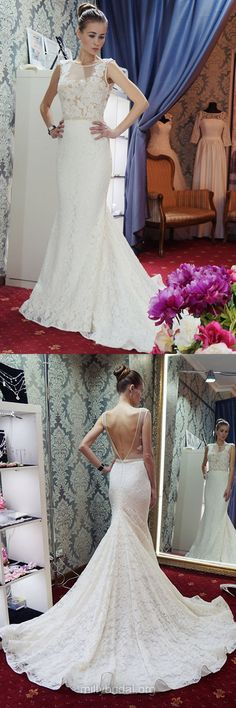 Sexy Wedding Dresses, Trumpet/Mermaid Bridal Dresses, Scoop Neck Lace Wedding Dress, Tulle Beading Backless Wedding Dresses