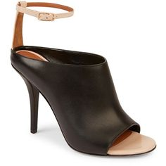 Givenchy Leather Ankle-Strap Mules ($850) ❤ liked on Polyvore featuring shoes, apparel & accessories, black natural, black ankle strap shoes, leather mules, black mules, leather mule shoes and black shoes