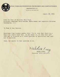 87 best letters from the desk of nick fury images on pinterest that is a valid excuse fury altavistaventures Images