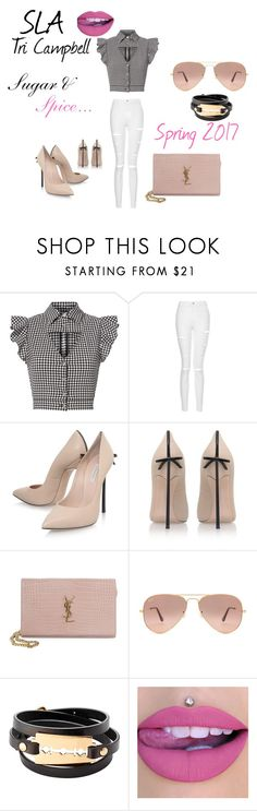 Pair a distressed white jean with a ultra feminine top to balance out the bad girl look. Throw on a eye catching pair of heels and go SLA the world!   Sugar & Spice by katrinaslaqueen on Polyvore featuring Marissa Webb, Topshop, Casadei, Yves Saint Laurent, McQ by Alexander McQueen and Ray-Ban