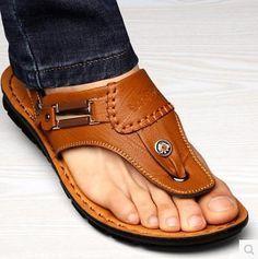 Playa de verano de moda de Cuero Tangas Nuevo Hombre Zapatos Informales…