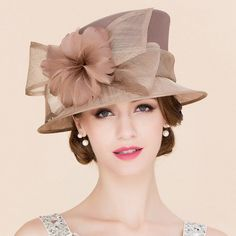 Brown coffee colored linen women s sinamay short brim feather flowers nature handmade fashion bridal wedding party hats church sun hats fedoras - Material :linen and feather Color : brown Size : Free ( One size fits all head)Brown coffee Chapeaux Pour Kentucky Derby, Kentucky Derby Hats, Sombreros Fascinator, Fascinator Hats, Fascinators, Fancy Hats, Cool Hats, Sinamay Hats, Tea Party Hats