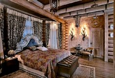 Siberian house wooden bedroom decorating ideas, Photo  Siberian house wooden bedroom decorating ideas Close up View.