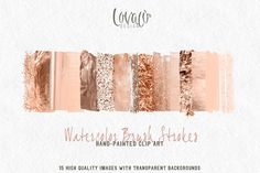 Rose Gold Watercolor brush strokes - Textures