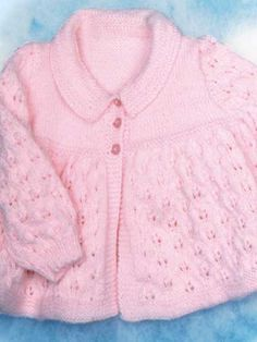 Knitting - Patterns for Children & Babies - Hat & Jacket Patterns - Knitted Lacy Jacket
