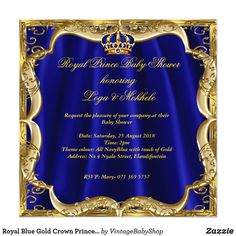 Royal Blue Gold Crown Prince Baby Shower Blonde Card